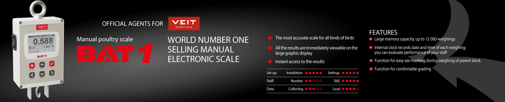 BAT 1 Manual Poultry Scale. World Number one selling manual electric scale